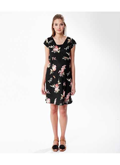 Hooyo Çiçek Desenli Hamile Elbisesi Siyah